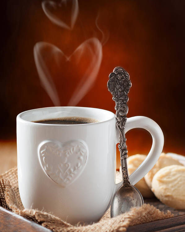 Coffee Poster featuring the photograph Valentine's Day Coffee by Amanda Elwell