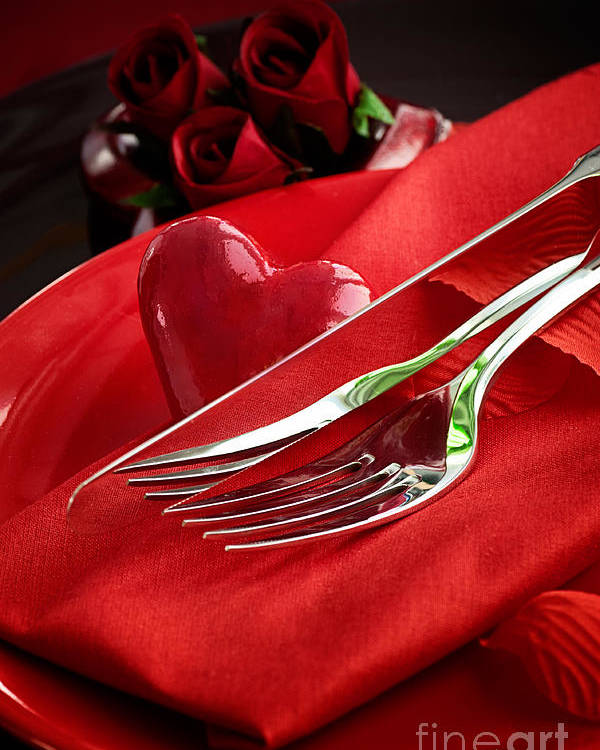 Anniversary Poster featuring the photograph Valentine's Day Dinner by Mythja Photography