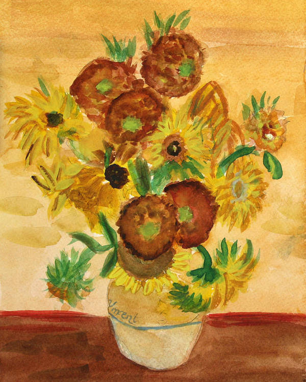 Van Gogh Poster featuring the painting van Gogh's Sunflowers in Watercolor by Donna Walsh