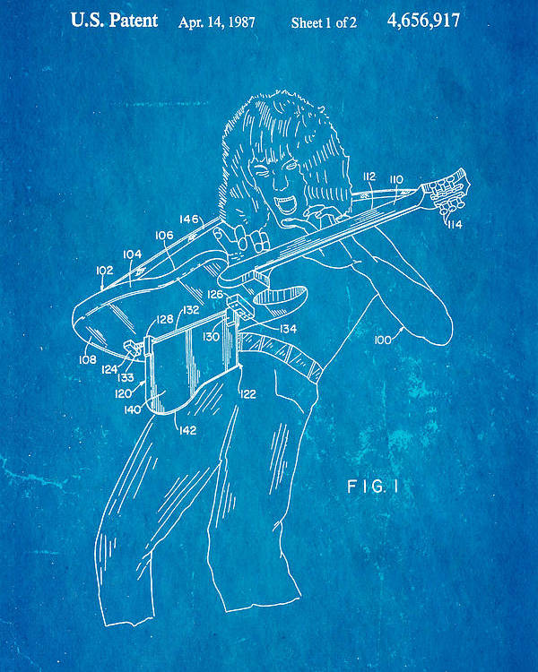 Famous Poster featuring the photograph Van Halen Instrument Support Patent Art 1987 Blueprint by Ian Monk