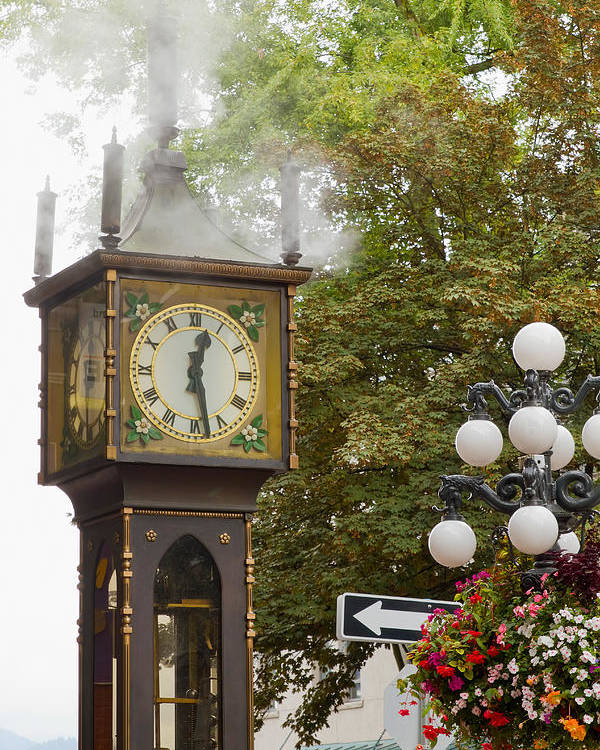 Vancouver Poster featuring the photograph Vancouver Bc Historic Gastown Steam Clock by Jit Lim