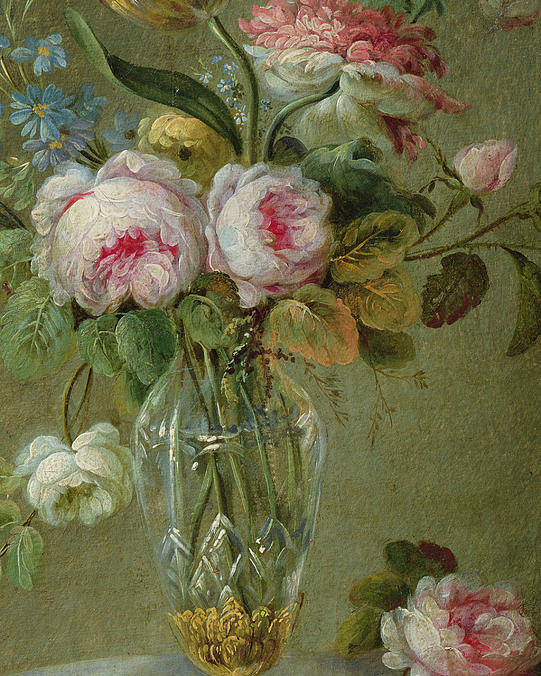 Rose Poster featuring the painting Vase Of Flowers On A Table by Michel Bellange