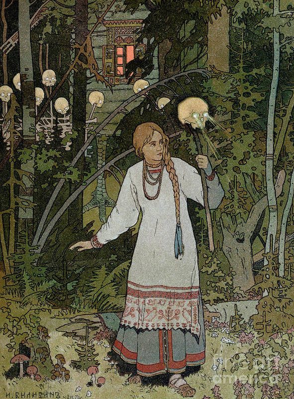 Horror Poster featuring the painting Vassilissa In The Forest by Ivan Bilibin