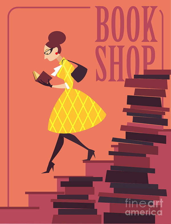 College Poster featuring the digital art Vector Illustration Of Bookstore, Books by Porcelain White