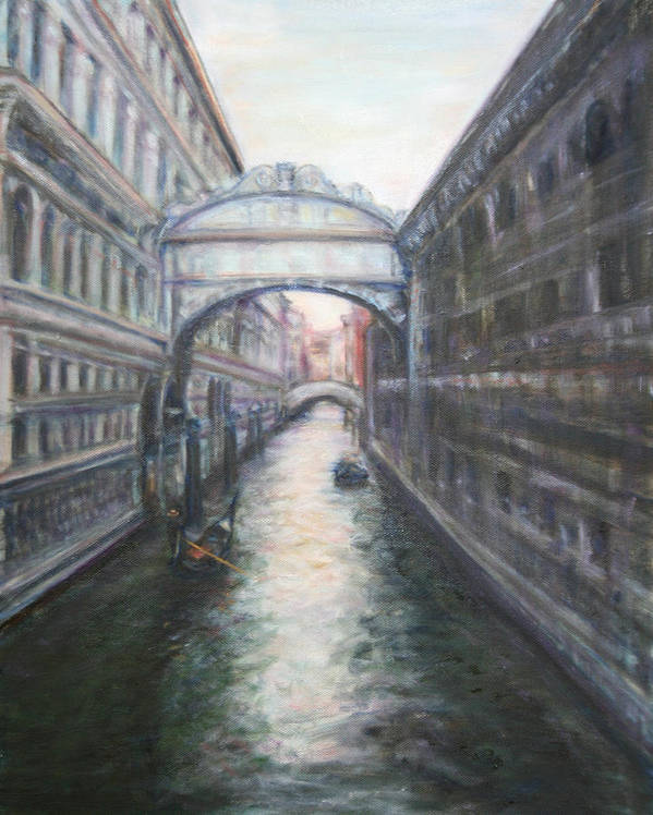 Boat Poster featuring the painting Venice Bridge Of Sighs - Original Oil Painting by Quin Sweetman
