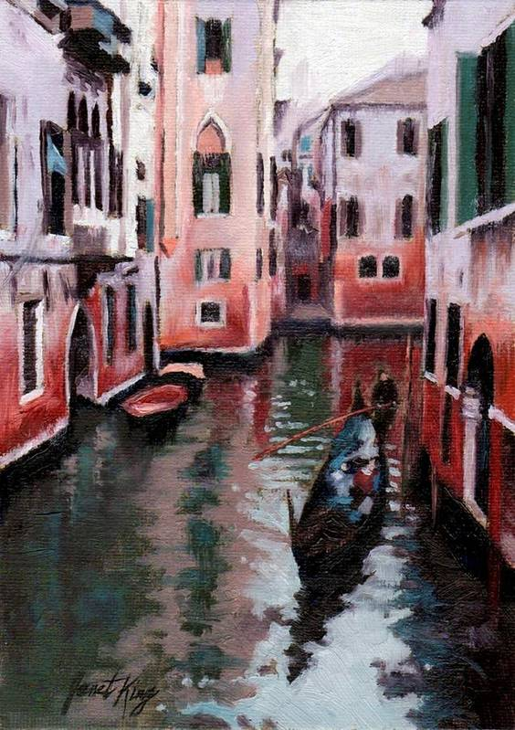 Cities Poster featuring the painting Venice Gondola Ride by Janet King