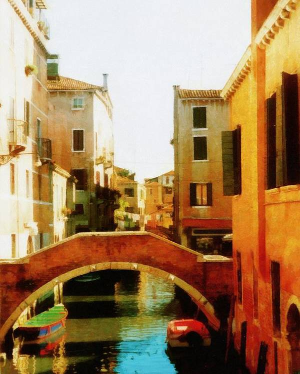 Venice Poster featuring the photograph Venice Italy Canal With Boats And Laundry by Michelle Calkins