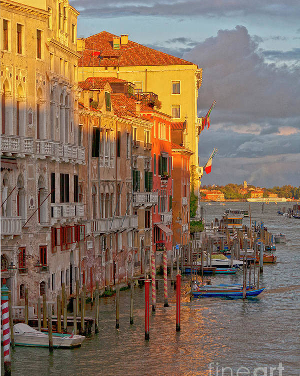 Venice Poster featuring the photograph Venice Romantic Evening by Heiko Koehrer-Wagner