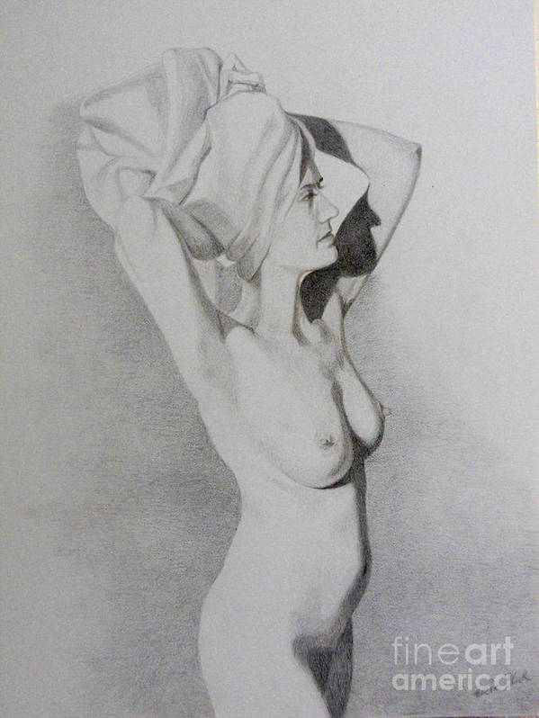Nude Poster featuring the drawing Veronica Four by Eric Black