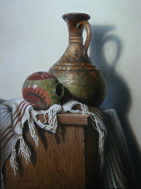 Still-life Poster featuring the painting Vessels by William Albanese Sr