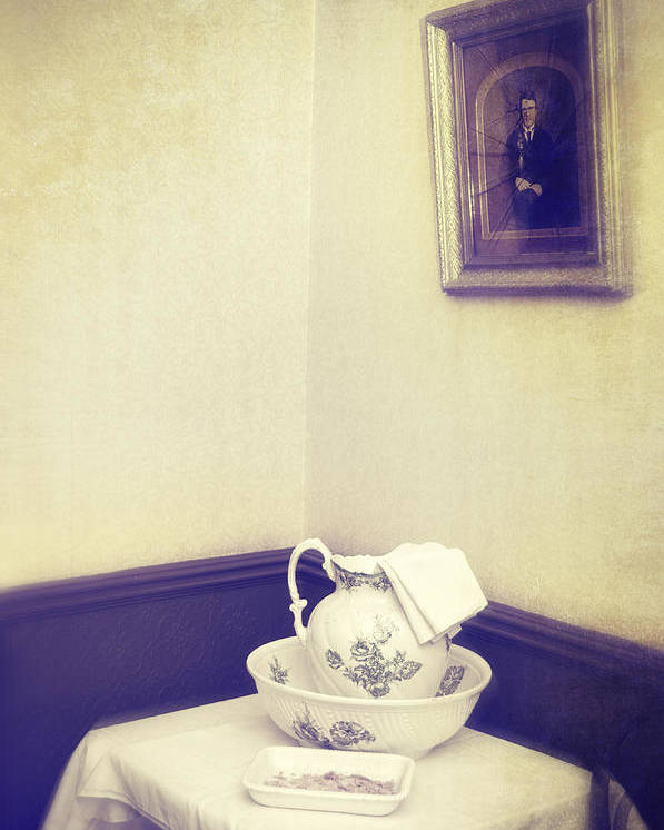 Patterned Poster featuring the photograph Victorian Wash Basin And Jug by Amanda Elwell
