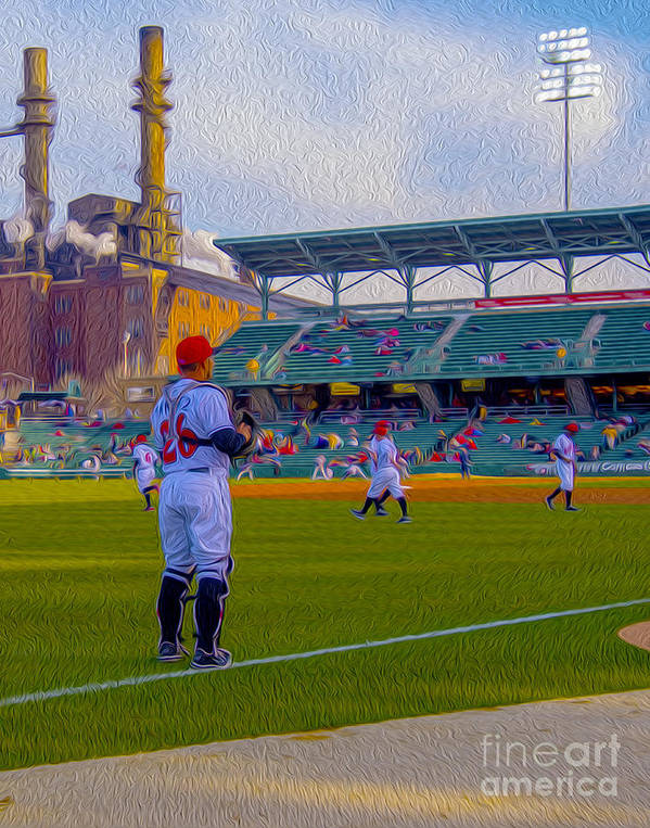 Victory Field Poster featuring the photograph Victory Field Catcher 1 by David Haskett
