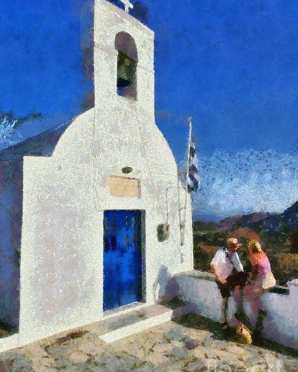 Serifos; Chora; Hora; Village; Town; Greece; Hellas; Greek; Cyclades; Kyklades; Aegean; Islands; People; Island; Tourists; Man; Woman; Couple; Holidays; Vacation; Travel; Trip; Voyage; Journey; Tourism; Touristic; Summer; White; Blue Sky; Hill; Top; Chapel; Church; Agios Konstantinos; Religion; Faith; Belief; View; Sight; Paint; Painting; Paintings Poster featuring the painting View From The Top Of Serifos Island by George Atsametakis