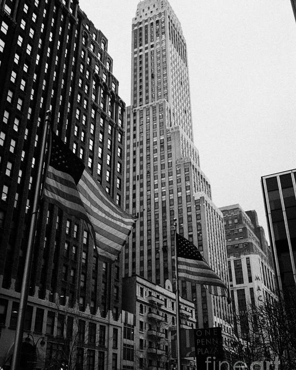 Usa Poster featuring the photograph view of pennsylvania bldg nelson tower and US flags flying on 34th street from 1 penn plaza new york by Joe Fox