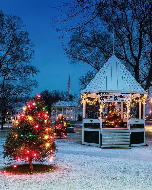 New England Poster featuring the photograph Village Green Holiday Greetings- New Milford Ct - by Thomas Schoeller