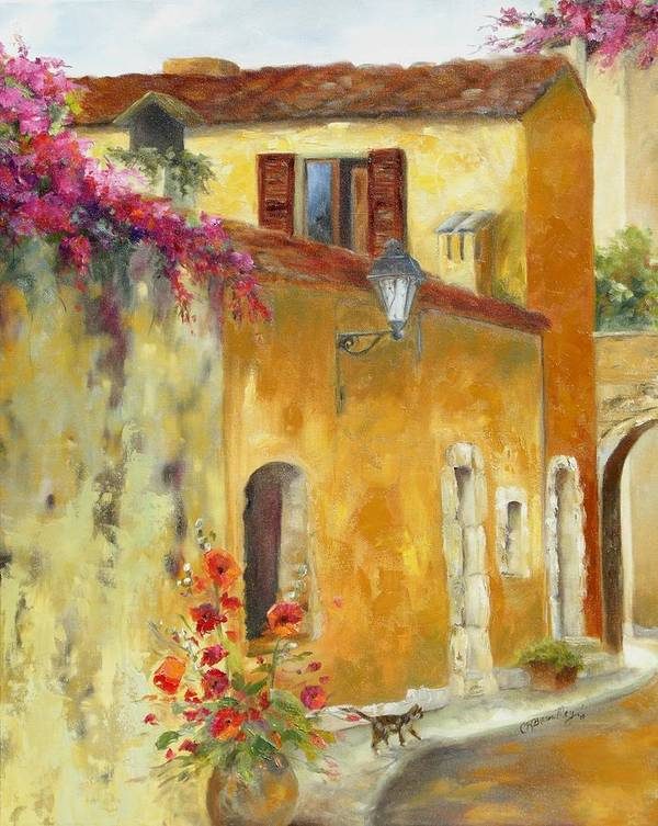 Village In Provence Poster featuring the painting Village In Provence by Chris Brandley