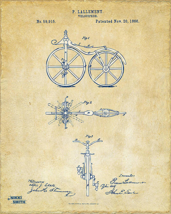 Bicycle Poster featuring the digital art Vintage 1866 Velocipede Bicycle Patent Artwork by Nikki Marie Smith