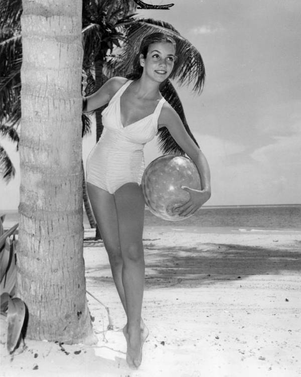 5ae230e139523 Retro Poster featuring the photograph Vintage Bathing Suit Girl Leaning  Against Palm Tree by Retro Images