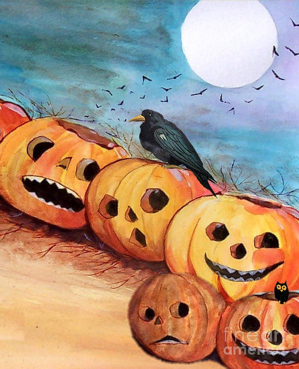 Halloween Poster featuring the painting Vintage Jack O Lanterns by Sylvia Pimental