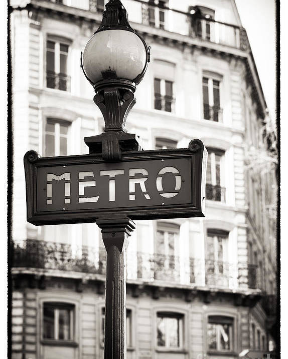 Vintage Paris Metro Poster featuring the photograph Vintage Paris Metro by John Rizzuto