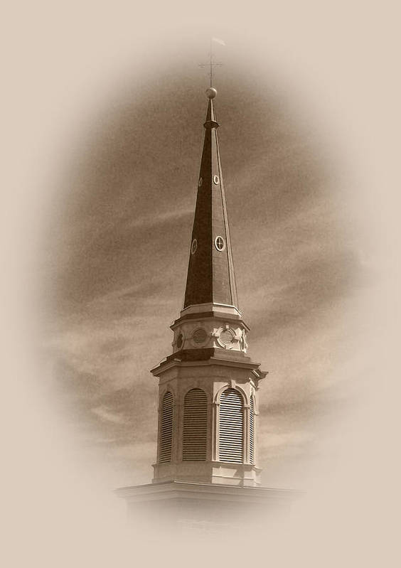 Church Poster featuring the photograph Vintage Steeple by Pharris Art