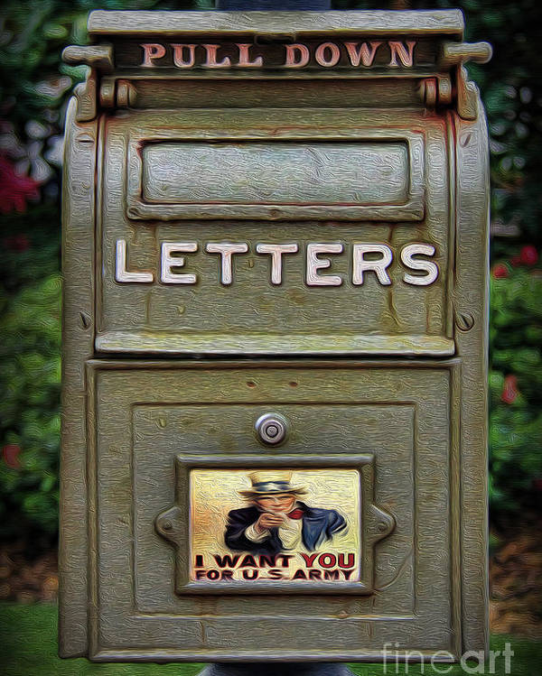 Green Mailbox Poster featuring the photograph Vintage Us Mailbox II by Lee Dos Santos