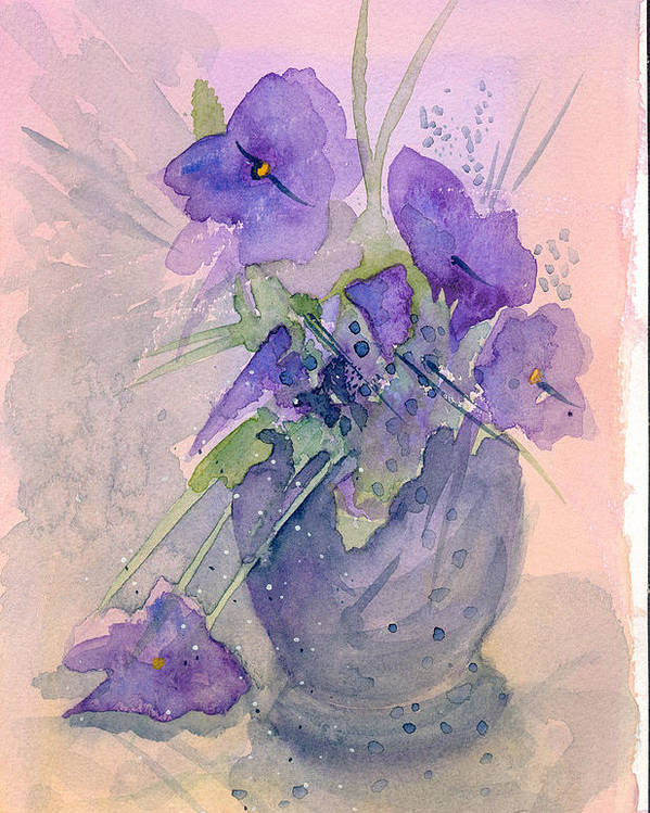 Purple Poster featuring the painting Violets by Ingela Christina Rahm