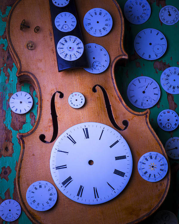 Old Poster featuring the photograph Violin With Watch Faces by Garry Gay