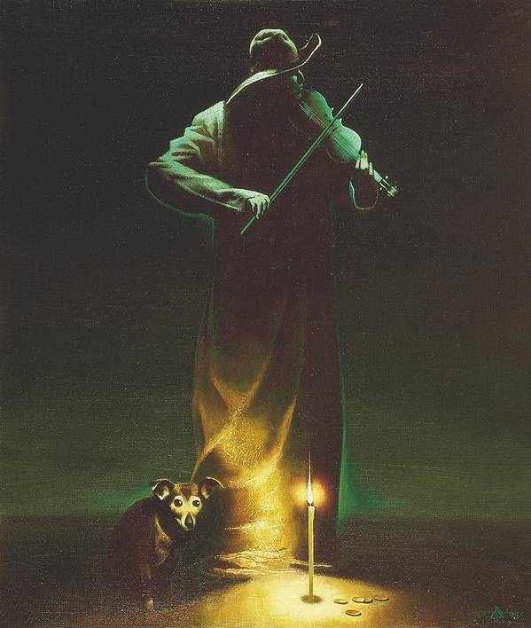Figures Poster featuring the painting Violinist by Andrej Vystropov