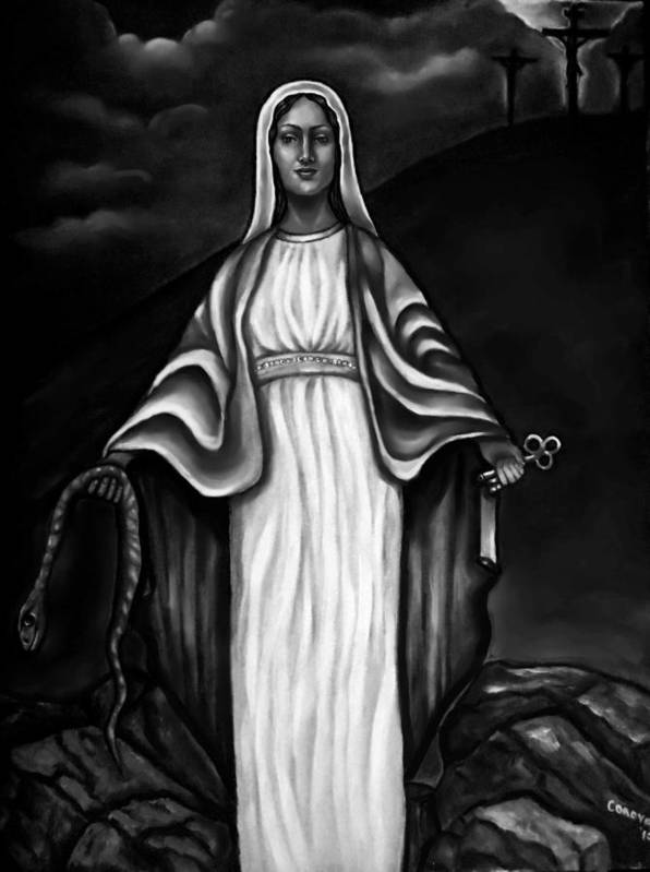 Virgen Mary Poster featuring the painting Virgen Mary In Black And White by Carmen Cordova