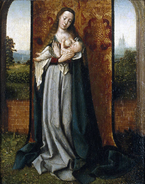 Jan Provoost Poster featuring the painting Virgin And Child by Jan Provoost
