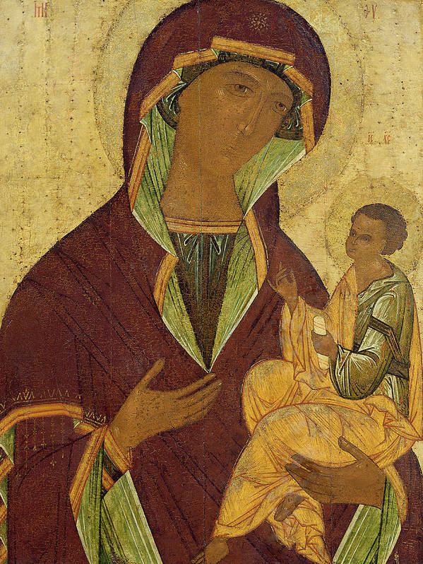 Madonna; Mary; Jesus Christ; Icon; Scroll; Byzantine Poster featuring the painting Virgin And Child by Russian School