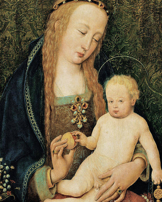 Madonna And Child Poster featuring the painting Virgin And Child With Pomegranate by Hans Holbein the Younger