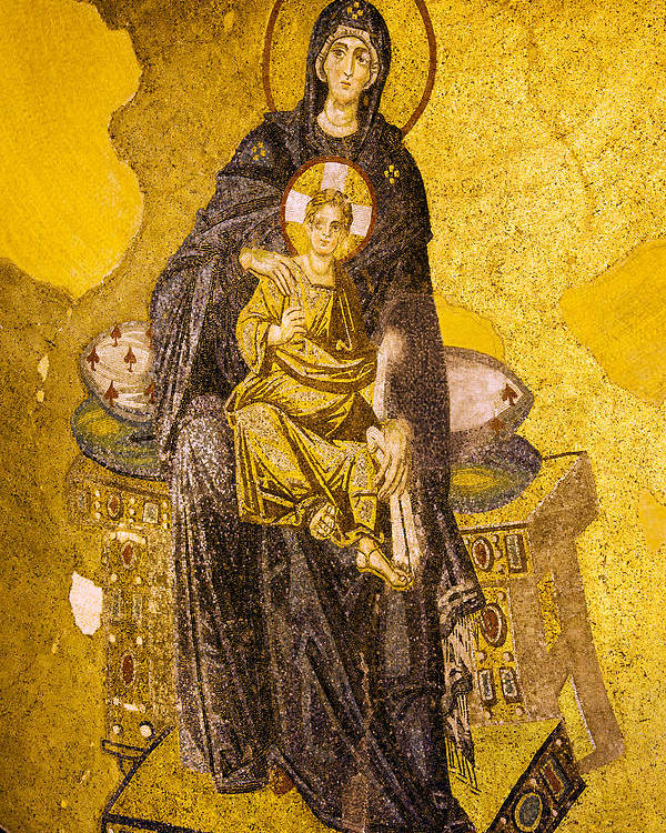 Art Poster featuring the photograph Virgin Mary With Baby Jesus Mosaic by Artur Bogacki