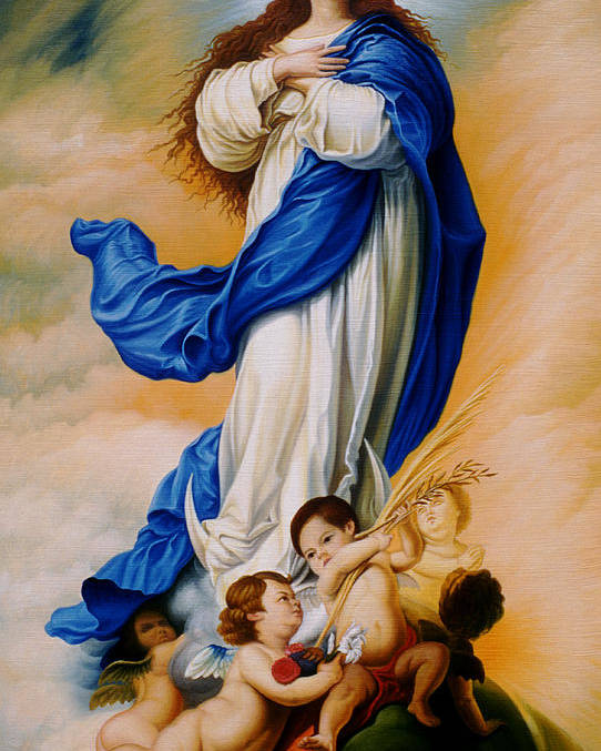 Immaculate Conception Poster featuring the painting Virgin Of The Immaculate Conception After Murillo by Gary Hernandez