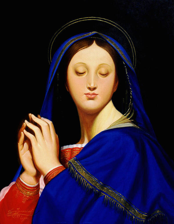 Religious Poster featuring the painting Virgin With The Host After Ingres by Gary Hernandez