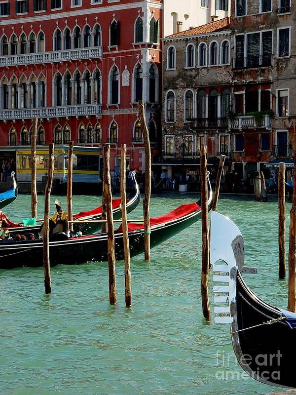 Gondolas Poster featuring the photograph Visions Of Venice 4. by Nancy Bradley