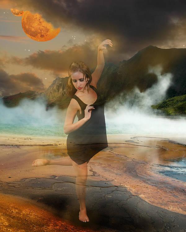 Dancer Poster featuring the digital art Volcano Goddess by Kim Cyprian