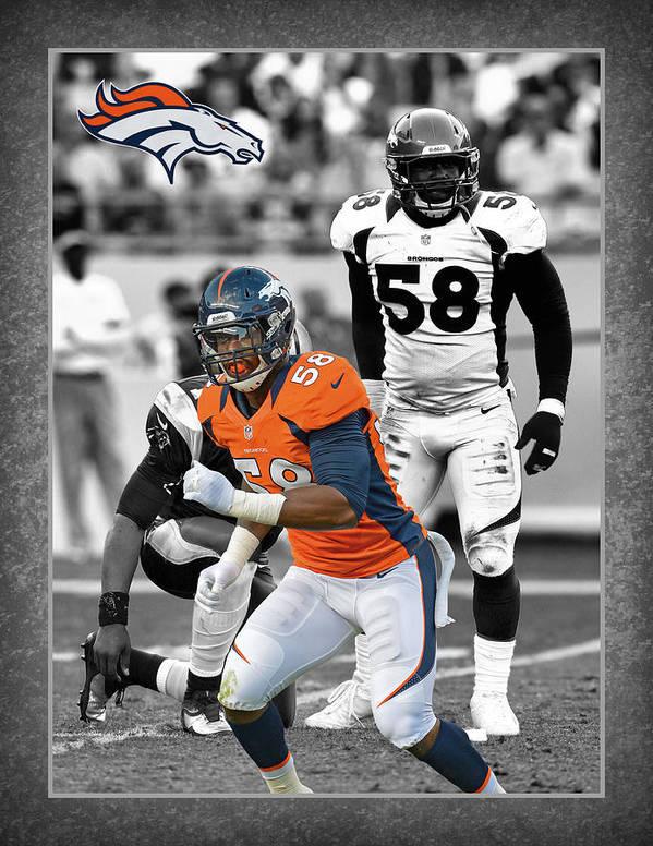 Von Miller Poster featuring the photograph Von Miller Broncos by Joe Hamilton