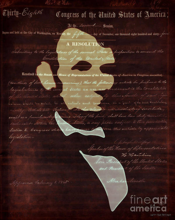 President Poster featuring the digital art Votes For Freedom by Pedro L Gili