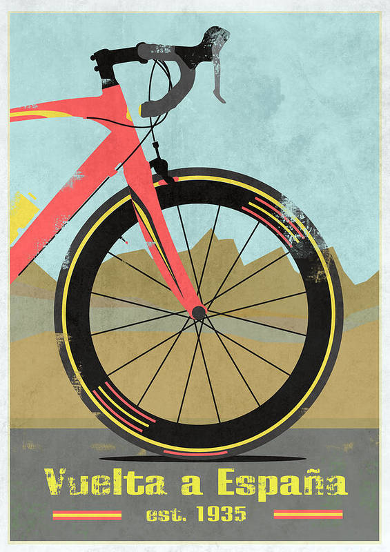 France Poster featuring the mixed media Vuelta A Espana Bike by Andy Scullion