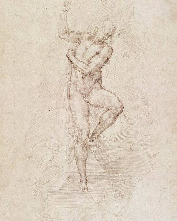 Drawing Poster featuring the painting W53r The Risen Christ Study For The Fresco Of The Last Judgement In The Sistine Chapel Vatican by Michelangelo Buonarroti