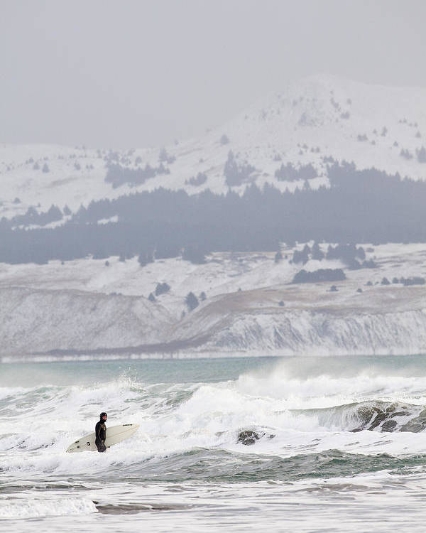 Alaska Poster featuring the photograph Wading Into Winter Surf by Tim Grams