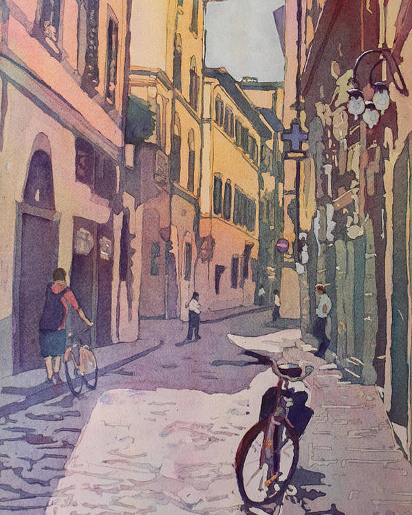 Florence Poster featuring the painting Waiting Bike by Jenny Armitage