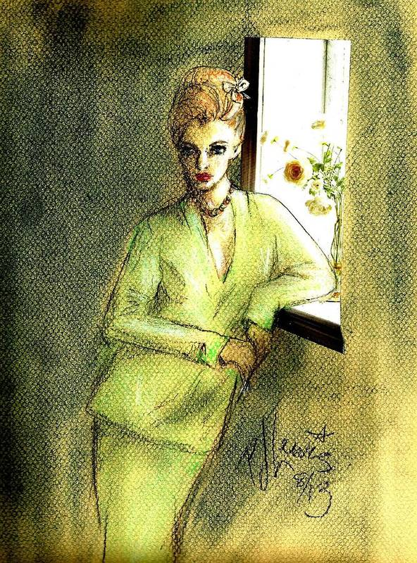 Women Poster featuring the drawing Waiting By The Window by PJ Lewis