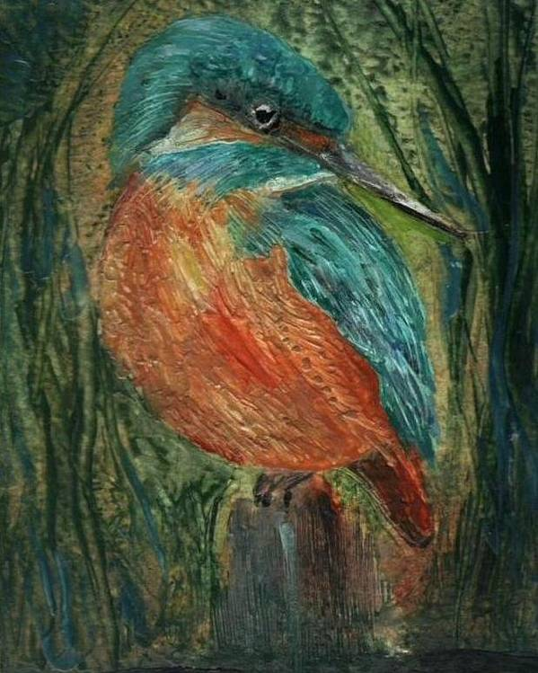Bird Poster featuring the painting Waiting by Carol Rowland