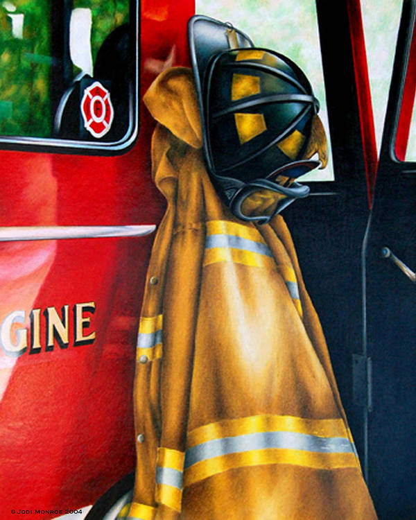 Firefighter Poster featuring the drawing Waiting For The Call by Jodi Monroe