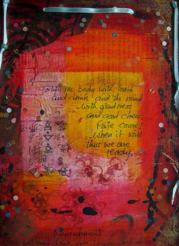 Book Of Changes Poster featuring the mixed media Waiting by Karen Severson