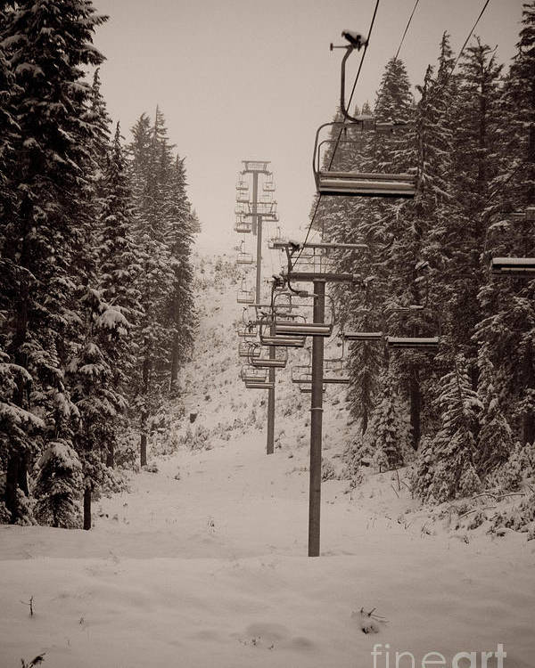 Oregon Poster featuring the photograph Waiting Ski Lifts by Cari Gesch