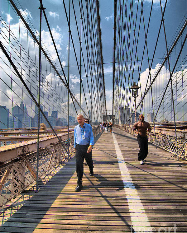 African American Poster featuring the photograph Walkers And Joggers On The Brooklyn Bridge by Amy Cicconi